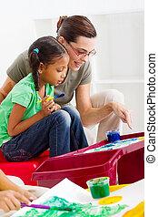 cuidado, niña, profesor, preescolar, ayuda