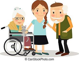 cuidado, pacientes, anciano