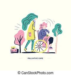 cuidado paliativo, ilustração