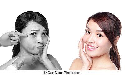 cuidado pele, mulher, após, e, antes de