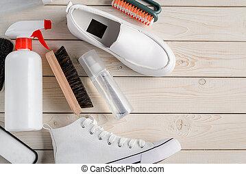 cuidado, plano de fondo, de madera, limpio, shoes, ...