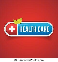 cuidado saúde, botão, vetorial