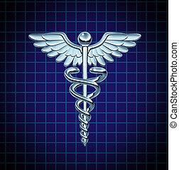 cuidado, saúde, caduceus, ícone