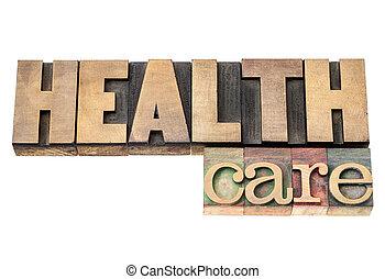 cuidado saúde, em, madeira, tipo