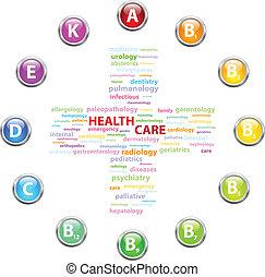 cuidado saúde, nuvem, conceito