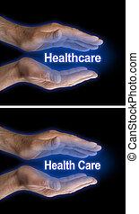 cuidado, saúde, seu, mãos