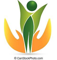 cuidado saúde, vida, ícone, logotipo, vetorial