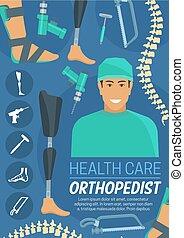 cuidado, salud, médico, orthopedist, doctor