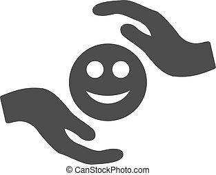 cuidado, sorrizo, mãos, apartamento, ícone