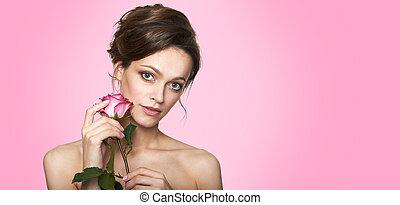 cuidado, spa, face., conceito, mulher bonita, pele