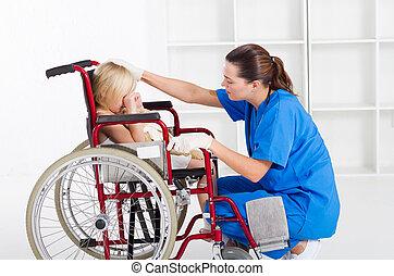 cuidado, trabajador médico
