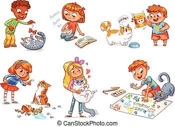 cuidado, vector, cat., ilustración, niño