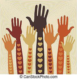 cuidado, voluntariado, o, hands.