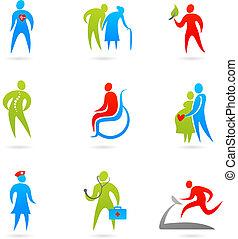 cuidados de saúde, ícone, jogo