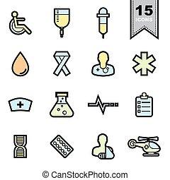 cuidados de saúde, ícones, jogo