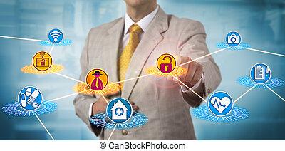 cuidados de saúde, administrador, sujeitado, para, cybercrime
