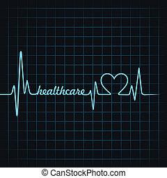 cuidados de saúde, batida coração, fazer, texto