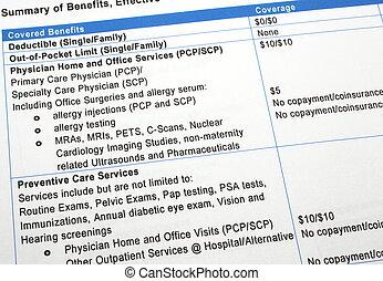 cuidados de saúde, benefícios, sumário