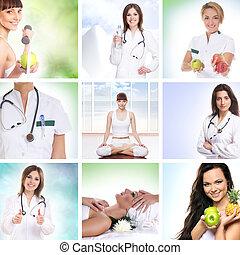 cuidados de saúde, colagem, feito, de, algum, quadros