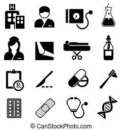 cuidados de saúde, e, ícones médicos