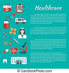 cuidados de saúde, e, médico, cartaz, desenho