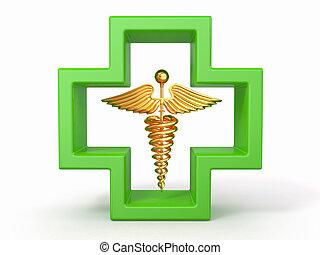 cuidados de saúde, e, médico, símbolo., caduseus, em, cross.