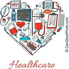 cuidados de saúde, forma, coração, ícones
