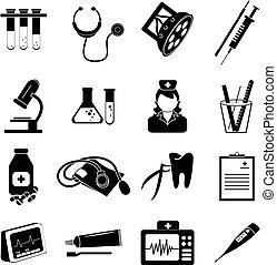 cuidados de saúde, jogo, ícones