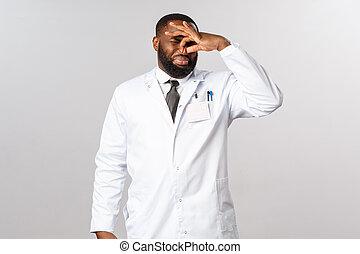 cuidados de saúde, macho, covid19, doutor, cheirando, bruto...