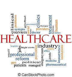 cuidados de saúde, palavra, nuvem, conceito