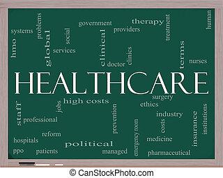 cuidados de saúde, palavra, nuvem, ligado, quadro-negro