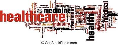 cuidados de saúde, palavra, nuvem