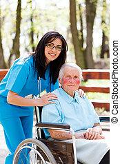 cuidando, ancião, pessoas