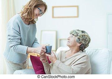 cuidando, antigas, mãe