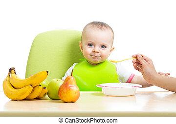cuillère bébé, alimentation, girl, mère
