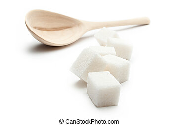 cuillère bois, cubes, sucre