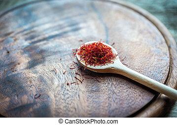 cuillère bois, safran