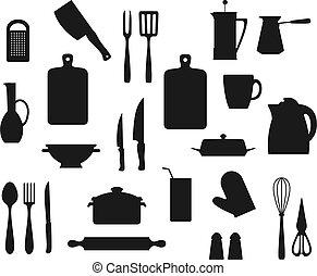 cuillère, cuisant casier, fourchette, cuisine, knives., ustensiles