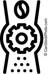 cuillère, illustration, icône, café, contour, vecteur