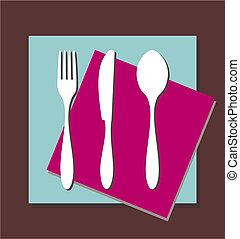 cuillère, nappe, couteau, fourchette