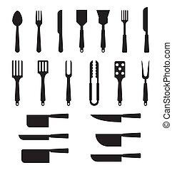cuillère, silhouettes, knives., fourchette, ensemble, cutlery.