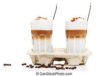 cuillères, café, deux, chocolat, macchiato, haricots,...