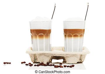 cuillères, café, latte, macchiato, haricots, fond,...