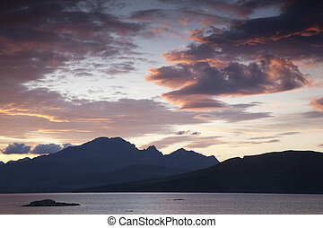 Cuillin Hills; Isle of Skye; Scotland, UK at Sunset
