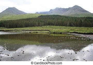 cuillins reflected in a stream, Isle of Skye, Scotland