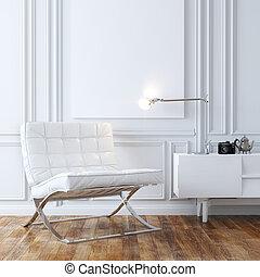 cuir, élégant, fauteuil blanc