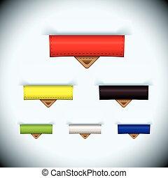 cuir, étiquette papier, onglet, icône