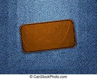 cuir, arrière-plan., jean, étiquette