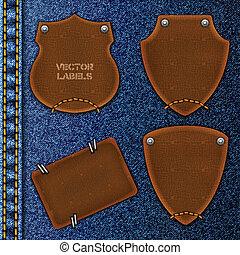 cuir, arrière-plan., jean, étiquettes, contre