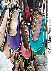 cuir, authentique, chaussures, turc